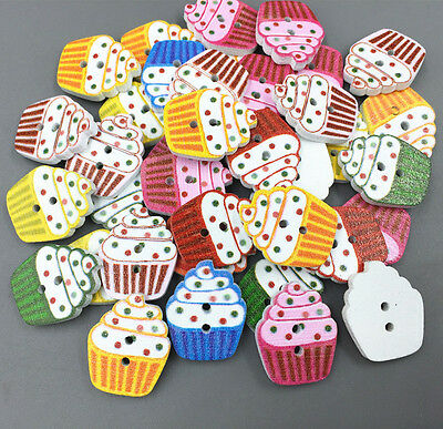 50pcs Wooden Buttons Cupcakes shape Mixed color Sewing Scrapbooking 2 holes 20mm