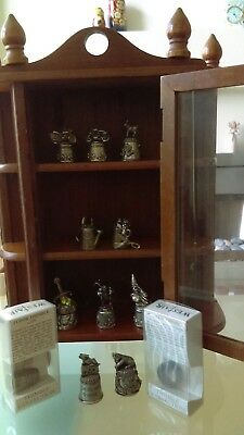 Pewter thimble collection and display case