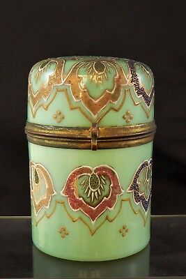Beautiful Napoleon III French Enamelled Opaline Glass Hinged Casket c1880