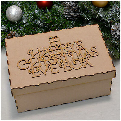 Personalised Christmas Eve Box Topper MDF Wood Large Laser Cut Traditional Xmas