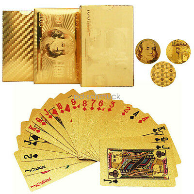 24K Gold Foil Plated Poker Waterproof 54 Playing Cards For Casino Table Game GW
