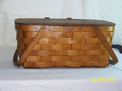 "Antique c1930-1940's Hand Woven ""Large"" Basket w/Hinged Lid & Handles"