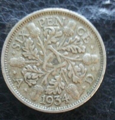 1934 Great Britain Six Pence Silver Foreign Coin .925 silver KING George V