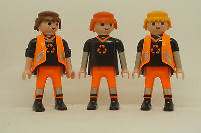Playmobil J-73 City Services 3x Figures Road Work Garbage Construction