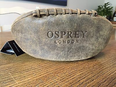 Osprey Men's Leather Wash Bag - Vintage Rugby Ball Style - BNWT