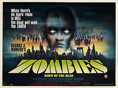 """ZOMBIES DAWN OF THE DEAD UK poster quad cinema 30"""" x 40"""" video nasty repro"""