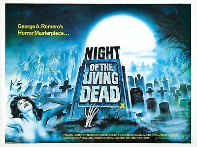 """NIGHT OF THE LIVING DEAD 1969 UK poster quad cinema 30"""" x 40"""" video nasty repro"""