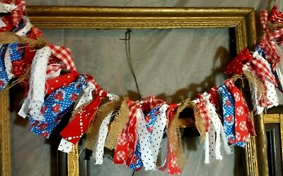 AMERICANA RAG GARLAND picnic Country Prim Shabby Patriotic 4th of July decor