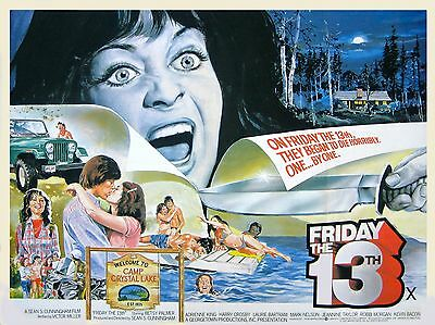 """FRIDAY THE 13TH UK poster quad cinema 30"""" x 40"""" video nasty repro"""