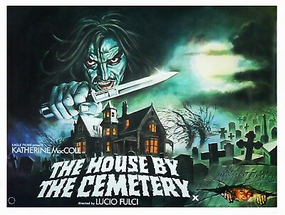 """THE HOUSE BY THE CEMETERY UK poster quad cinema 30"""" x 40"""" video nasty repro"""