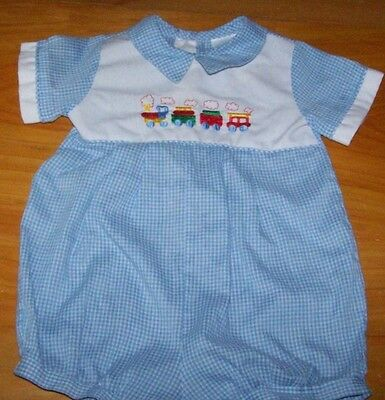 """VTG Alexis Baby Boy Check W/Train Embroid Short Sleeve Romper~ USA~ 10"""" chest"""