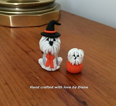 Miniature Hand Crafted Polymer Clay Old English Sheepdog Witch & Friend