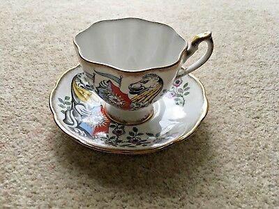 Queen Anne Fine Bone China Cup and Saucer - White Lion of Mortimer