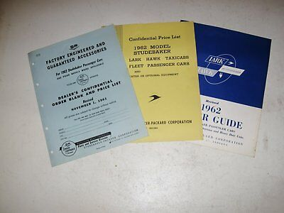 1962 Studebaker Confidential Dealer Price List + Accessory Prices & Order Guide