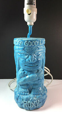 Roxy Sacred Good Luck Tiki Bar Lounge Aloha Lamp 3 Way Light Ceramic Blue Glow