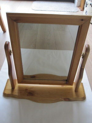 NEW - ANTIQUE PINE DRESSING TABLE MIRROR (44cm x 49cm x 15cm) - RECTANGULAR