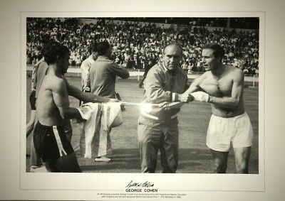 Signed George Cohen England v Argentina 1966 World Cup Autograph Photo