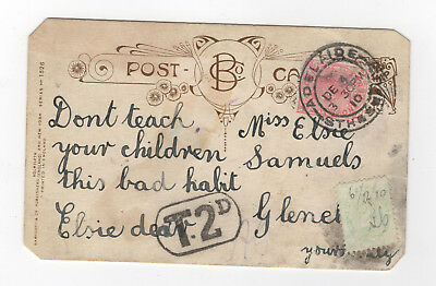 1910 post card + postage due stamp.