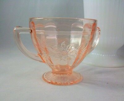 Jeanette Pink Depression Glass SUNFLOWER Sugar Bowl  1930s