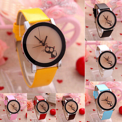 Fashion Women Watch Lovely Cat Crystal Dial Leather Analog Quartz Wrist Watches