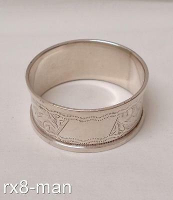 1905 Antique Edwardian Solid Sterling Silver Bright Cut Engraved Napkin Ring