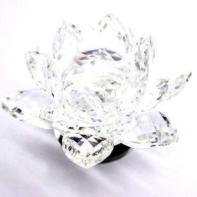 Large  Crystal Cut Lotus Ornament Flower With Gift Box Clear Colour Uk 13Cm