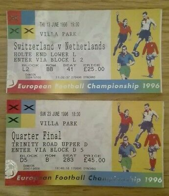 Euro 96 Tickets - SUI v NED Group Game and Villa Park Quarter Final