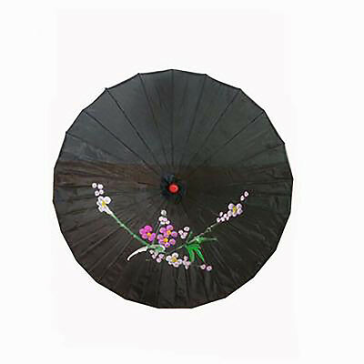 Vintage Oriental Folding Black Wedding Party Nylon Bamboo Umbrella Parasol  22""