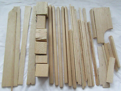 Assorted Vintage Balsa Wood Offcuts - 34 pieces