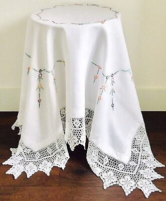 Vintage Linen & Lace Hand Embroidered Table Cloth