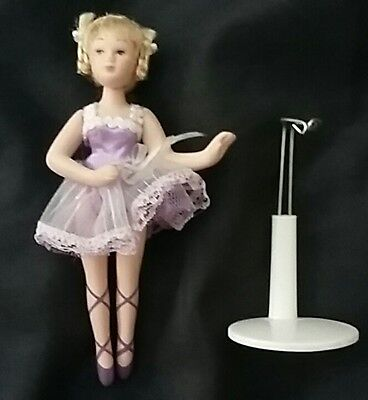 """BALLERINA porcelain Doll 6"""" tall pink Tutu braids with stand VTG & Collectible"""