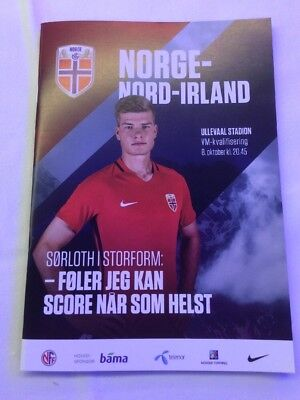 Norway V Northern Ireland Football Prog & Teamsheet Oct 2017