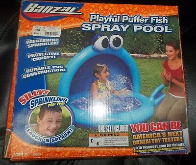 NIB Banzai Playful Puffer Fish Spray Pool Ages 2+ Silly Sprinkling Water Fun !