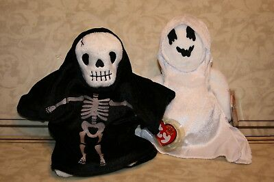"Ty Beanie Babies ""creepers & Sheets"" Halloween Skeleton & Ghost - New"
