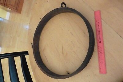 """Vintage Bell Gong Circle Hoop 16"""" Antique Cast Wrought iron 13lb farm dinner"""