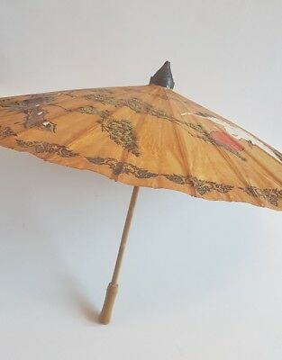 """Vintage Chinese oriental bamboo and paper umbrella 34"""""""