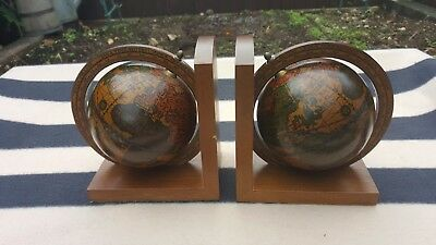 Pair of Vintage World Globe Wooden Bookends Made in Italy