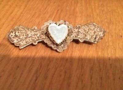Antique Gold Plated M & J Victorian Edwardian Bar Brooch Mother Of Pearl?