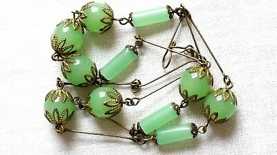 Czech Milky Green Glass Bead Necklace Vintage Deco Style