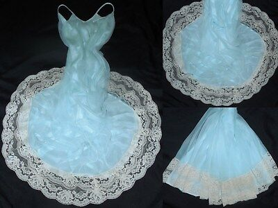 VTG 60's L INTIME' LONG BLUE Floor Length CHIFFON NIGHTGOWN NEGLIGEE GOWN  USA