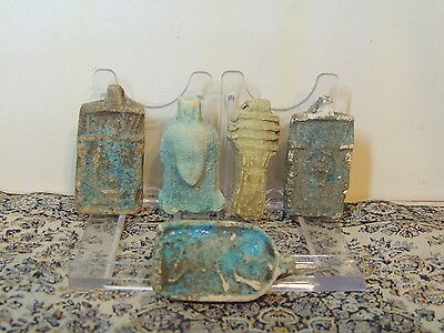Lot Of 5 Scarce Egyptian Faiance Amulets Pendants