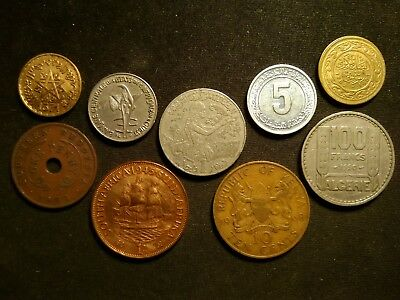 Africa Coins Lot West And South Africa Tunisia Rhodezia Algeria Kenya Morocco