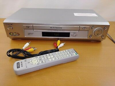 Sony SLV-N700 VCR 4-Head Hi-Fi VHS Video Cassette Player Recorder with Remote