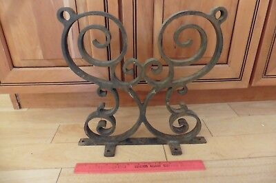 Vntg Wrought iron swirl handmade fence rail table stand part antique steampunk