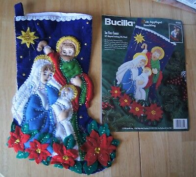 "HANDMADE Finished * Bucilla 18""FELT STOCKING 1996 ""The Holy Family"" ""Kit #83385"