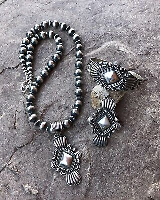 Tsosie White Concho Style Sterling Set ~Signed~