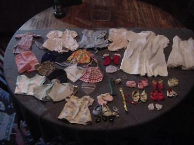 Lot of Old Vintage 1950's & 1960's Doll Clothes ~ Shoes  ~ Accessories ~