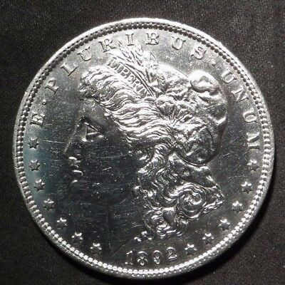 1892-P Morgan Silver Dollar- AU Cleaned