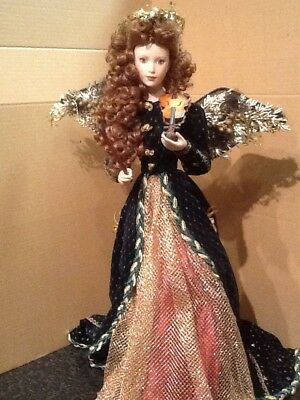"""Franklin Mint Heirloom Porcelain Doll Rejoicing Christmas 19"""" tall with Halo"""
