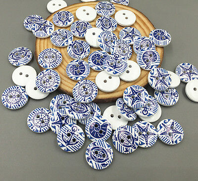 50pcs 2-holes stripe Wooden Mixed Anchors sewing Scrapbooking buttons 15mm